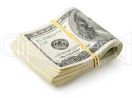 Dollars tied with a rubber band