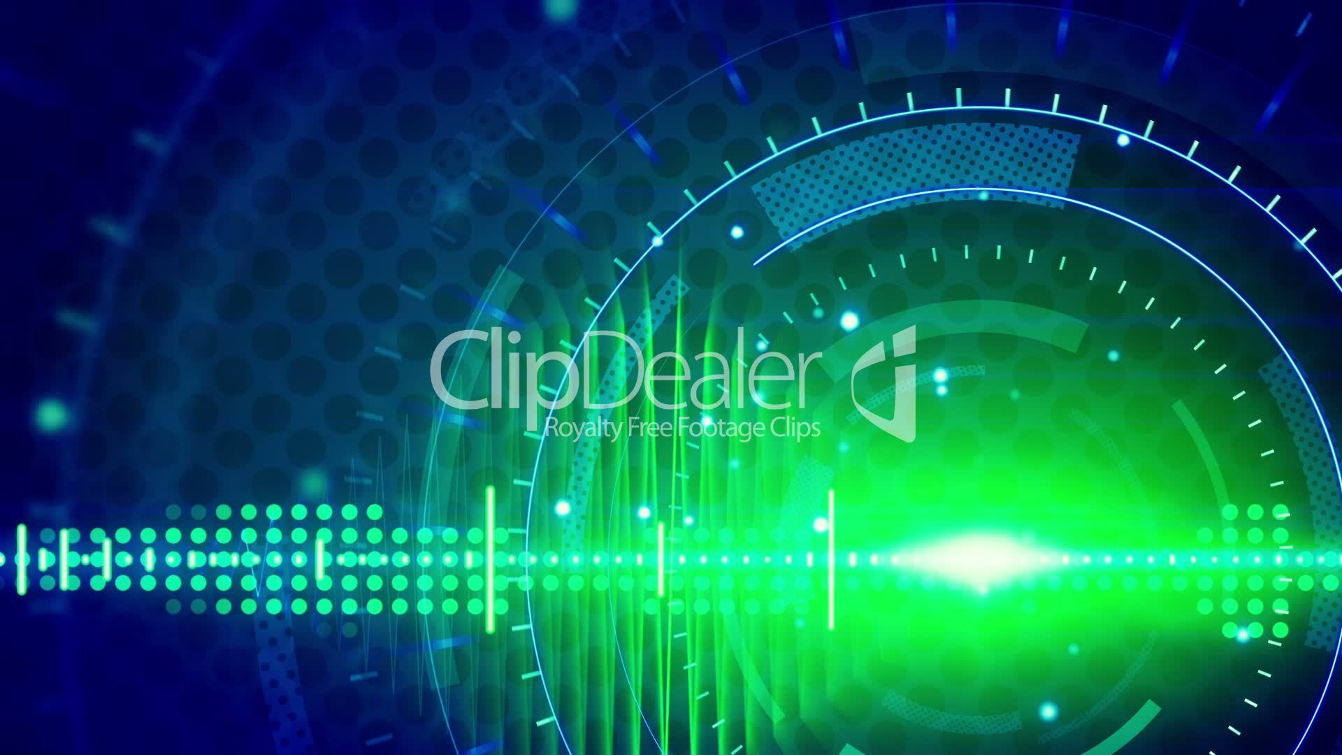Blue Technology: Sine Waves Green Blue Technology Loop Background: Royalty