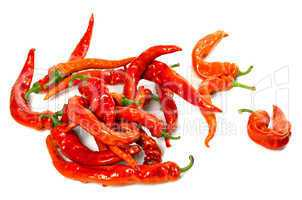wet red chili peppers