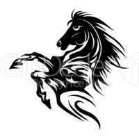 Horse tattoo symbol for design isolated on white emblem or logo template.