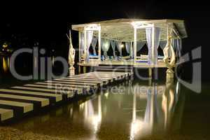 relaxation building near beach in night illumination, fethiye, t