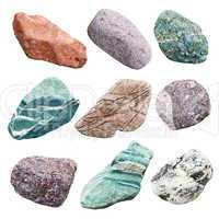 Set of nine minerals