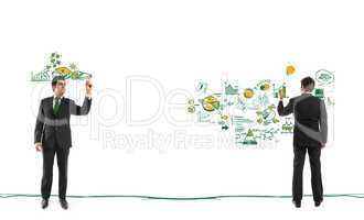 Businessman drawing financial concepts