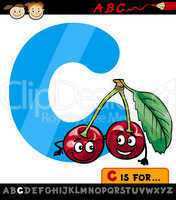 letter c with cherry cartoon illustration