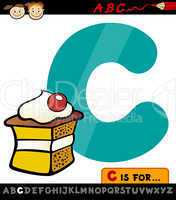 letter c with cake cartoon illustration