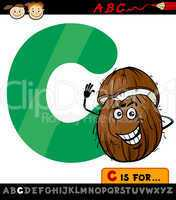 letter c with coconut cartoon illustration