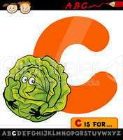 letter c with cabbage cartoon illustration