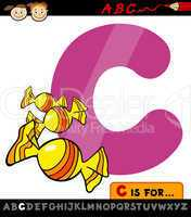 letter c with candy cartoon illustration