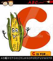 letter c with corn cartoon illustration