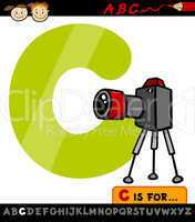 letter c with camera cartoon illustration