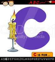 letter c with candle cartoon illustration