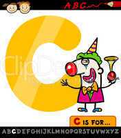 letter c with clown cartoon illustration
