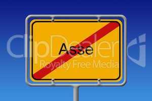 Ortsschild Asse Durchgestrichen - German City Sign Asse crossed