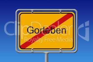 Ortsschild Gorleben durchgestrichen - City sign gorleben crossed