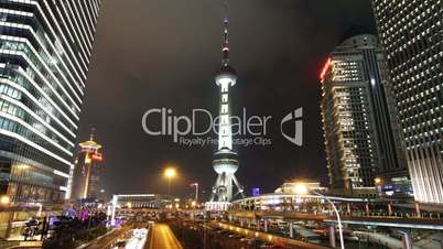 shanghai landmark and city traffic at night