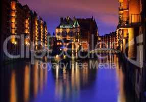 Hamburg Speicherstadt Wasserschloss Nacht 02
