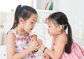 Eating ice cream cone