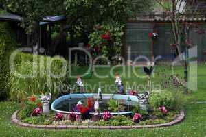 Schrebergarten mit Gartenzwergen