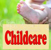 Foot of the child with Shield Childcare