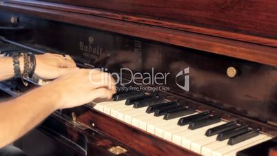 Piano vintage male hands playing editorial
