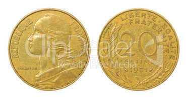 retro coin of franc
