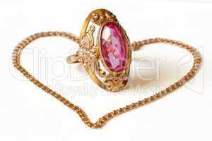 golden ring and bracelet