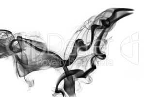 Abstraction: black smoke shape and swirls