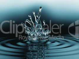 Blue liquid splashes with ripples on the surface