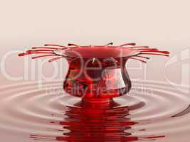 Splash of cherry juice or wine with droplets