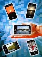 human hand with modern phones