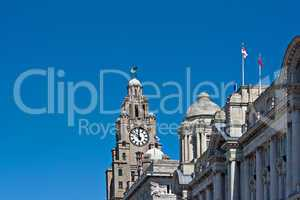 Front view of the Liver Buildings, Liverpool, UK