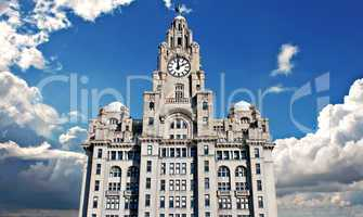 Liver Buildings on Liverpool waterfront