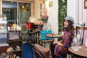 Thai woman in restaurant
