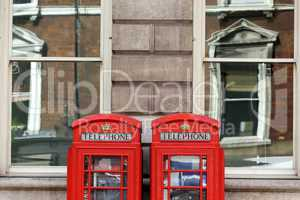 Traditional London telephone boxes