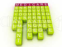 Medicare Word Cloud Concept with great terms such as health