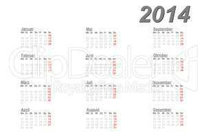 German calendar for 2014