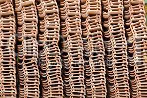 Stack of unused roof tiles