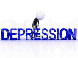 Depression 3d man sad on white background