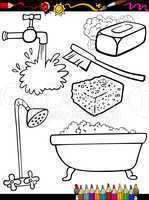 cartoon hygiene objects coloring page
