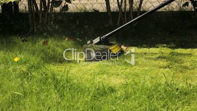 Man cutting grass with lawn mower.