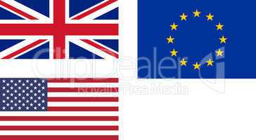 flags of uk eu usa