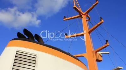 chimney and mast of vintage diesel ship