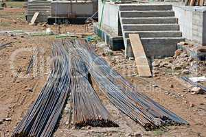 Steel concrete reinforcing rods on building site