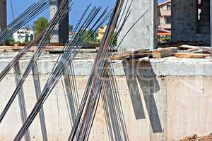 Concrete reinforcing rods on building site