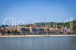Historical buildings on shore side of Danube river in Budapest