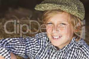 Young Happy Blond Boy Child Plaid Shirt Flat Cap