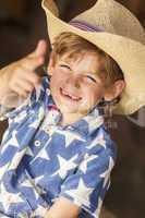 Happy Blond Boy Child Cowboy Hat Star Shirt