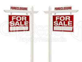 Two Foreclosure For Sale Real Estate Signs with Clipping Path