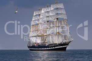 Segelschiff historisch Großsegler auf dem Meer
