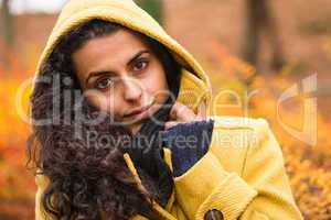 Cozy fall background woman hood feel chilly